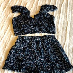 Two piece blue floral